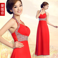 Love 2012 formal dress red wedding dress evening dress long design evening dress spaghetti strap slim formal dress