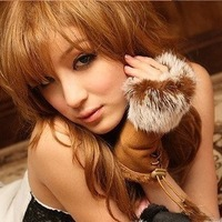 Free shipping suede fabric rabbit fur semi-finger gloves Mittens