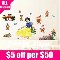 Retail Free Shipping 24*42CM Baby Room Decoration Snow White & Seven Dwarfs Wall Sticker 1pcs/lot