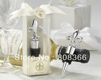 "Factory Directly Sale JJ806 12pcs/lot  ""Fleur de Lis"" Elegant Chrome Wedding Bottle Stopper Favors Free Shipping In 48hours"