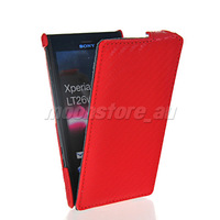 CARBON FIBRE FLIP HARD BACK CASE COVER  FOR SONY XPERIA ACRO S LT26W FREE SHIPPING