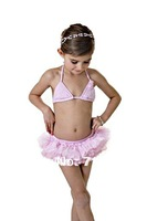Free Shipping new 2014 fashion ballet girls swimwear bikini sets Tutu Bikini two pieces Size 2t to 7T