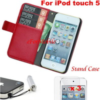 Slim Wallet Case Mobile Phone Case + SCreen Protector + Stylus Pen For Apple iPod touch 5 iTouch 5