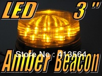12V Amber 3 inch 76mm Diameter Flashing LED Safety Beacon Warning Flash Lights Globes Bulb come with extra spacer various height