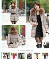 2012 New Womens Girls Down Coat  New Women Hooded Slim Long Outerwear Parka Puffer Real Fur Duck Down Coat Jacket /free shipping