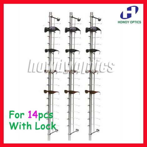 ST014L hold for 14pcs aluminium sunglasses eyeglasses display rod rack with lock(China (Mainland))