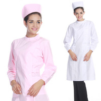 Autumn elegant long sleeves pink hospital medical nursing uniform dress workwear