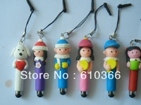 100pcs Cute Cartoon Stylus Pen With dust plug with decoration function for iphone4 4s 5 Free Shipping
