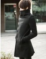 2012 Men's Winter Warm Pea Long Wool Trench Coats Fashion Turtleneck Single-Platoon Windbreaker Black Gray Coffee