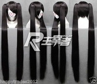 Women's Vocaloid Zatsune Miku 2 x clip ponytail BRS BLACK ROCK SHOOTER Wig