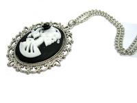 Victorian Noir belle morte skeleton necklace lady princess halloween cameo necklace NW740