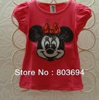Wholesale 5PCS/LOT baby short sleeve t shirt fashion style girl cotton tee Minnie pattern childern top  B2W2 MT-001