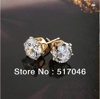 2012  most popular fashion jewelry,18KGP Ladies' Zircon stud earrings,Factory Direct selling,COME WITH A FREE EXQUISITE GIFT BOX