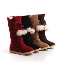 Free Shipping!2012 fashion autumn and winter warm medium-leg shoes/faux fox fur women's snow boots/black.brown.blue/flat heel