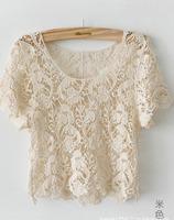 2012 summer vivi magazine all-match handmade cutout crochet shirt short design t-shirt