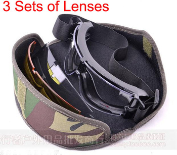 X800 3 lenses Tactical Airsoft Paintball bulletproof antifog Storm Goggles Outdoor Sports  Cycling Sunglasses Eyewear