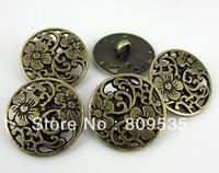 Free Shipping 50Pcs Bronze Tone Metal Pierced Buttons 20.0mm