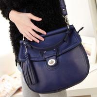 Free shipping 2012 lockbutton tassel rivet portable  shoulder cross-body women's handbag bag DZ131002
