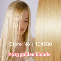 "Free shipping!20-28""#613 light blond full around the head 100% human hair/Brazilin hair clip in hair extensions 120g"