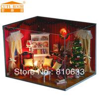 Free shipping building blocks Handmade diy wooden housecute homemade christmas gifts