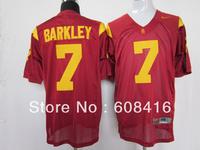 NEWEST NCAA football jersey,USC Trojans #7 Matt Barkley red jersey,Embroidery logos,Free shipping,size 48-56,can mix order