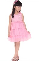 Girls summer 2013 children dress summer Chiffon + Lace girls Dress princess skirt