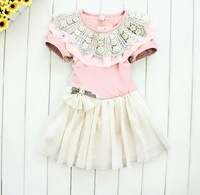 2013 the latest children's clothing Korean lace collar the ladies skirt girls dress