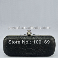 Luxury genuine python skin box clutch bag, purse