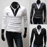 Free shipping new Mens T Shirt +Men's long Sleeve T Shirt slim fit,t shirt ,cotton,3colors ,4sizes,drop shipping MLT35
