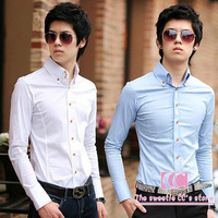 Shirt men fashion spring and autumn fashion solid(black/white/pink/blue/wine red) long-sleeve slim turn-down collar  men's shirt