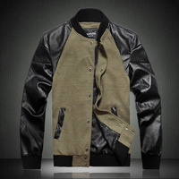 FROMOTION Men's Jacket 2012 autumn and winter male woolen jacket patchwork fashionable casual short jacket plus size plus size