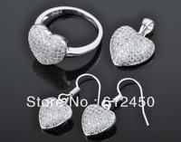 2013 fashion  newest design Wholesale 925 sterling silver Micro Pave zircon crystal jewelry Set: rings &pendant& earring S-06
