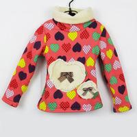 FREE  SHIPPING Autumn and winter turtleneck thickening plus velvet sweatshirt love pattern thickening basic shirt style