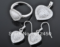 2013 fashion  newest design Wholesale 925 sterling silver Micro Pave zircon crystal jewelry Set: rings &pendant& earring S-05