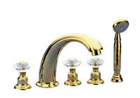 FREE SHIPPING waterfall Bathtub Faucet Widespread Waterfall Roman Bath Tub Faucet + Handheld Shower+crystal handles