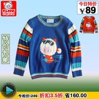 FREE SHIPPING 249 BANUM 2012 infant male girls clothing 100% cotton o-neck long-sleeve sweater basic shirt