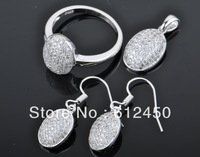 2013 fashion  newest design Wholesale 925 sterling silver Micro Pave zircon crystal jewelry Set: rings &pendant& earring S-07