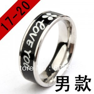 #TFR005lovers Titanium finger ring Personality black oil drip clovers ring 316L stainless steel jewelry(China (Mainland))