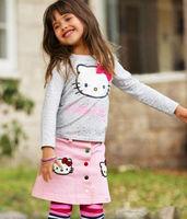 Wholesale 2013 spring Girl hello kitty casual mini skirt suit/ long sleeve t shirt+mini print skirt kids clothing/90-130cm