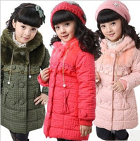 FREE SHIPPING 2012 child cotton-padded jacket children's clothing female child wadded jacket winter trench outerwear