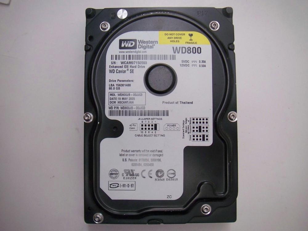 Free shipping wd800jb 00jjc0 hard drive disk western digital 80gb ide