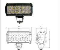 free  7 inch 12pcs*3W Cree LED 2520LM 36W LED work  light/bar/ Aluminum alloy/car/tractors,/suv/ ATV /offroad lights