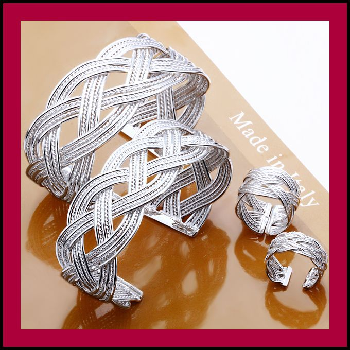 Min. Order=15USD(Mix Items) Wholesale Fashion 925 Silver Lovers Weave Bangle / Ring Set Jewelry.TOP Quality,Free Shipping(China (Mainland))