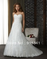 In Fashion Elegant  A-line Strapless Lace over Tulle Lace Up Dresses Wedding