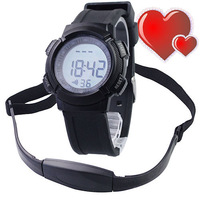 Free Ship HOT SALE!!! EL Backlight Wireless Chest Band Heart Rate Monitor Sports Watch Waterproof Sport Men Women Watches
