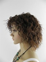 Fashionable woman Elegant short curly Beautiful wig