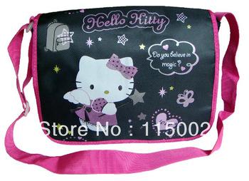 High Quality Nylon Hello Kitty Shoulder Side Bag Child School Bag Black #495 Wholesale And Retail