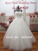 2013 In Stock Cheap Ball Gown Sweetheart Floor Length Crystal Lace Ruffles Ivory Tulle Bridal Gowns/Wedding Dress SL-1308