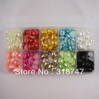 Free Shipping wholesale 500pcs/Box 10mm mix color heart imitation Pearls Flat back Accessory Beads DIY