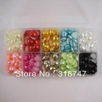 Free Shipping wholesale 500pcs/Box 10mm mix color heart imitation Pearls Flat back Accessory Beads DIY